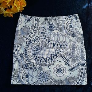 Melly M, Blue/White, Floral/Paisley Skirt